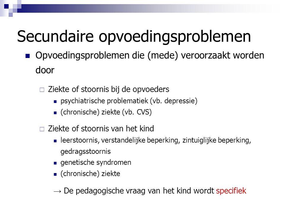 Secundaire opvoedingsproblemen Opvoedingsproblemen die (mede) veroorzaakt worden door  Ziekte of stoornis bij de opvoeders psychiatrische problematiek (vb.