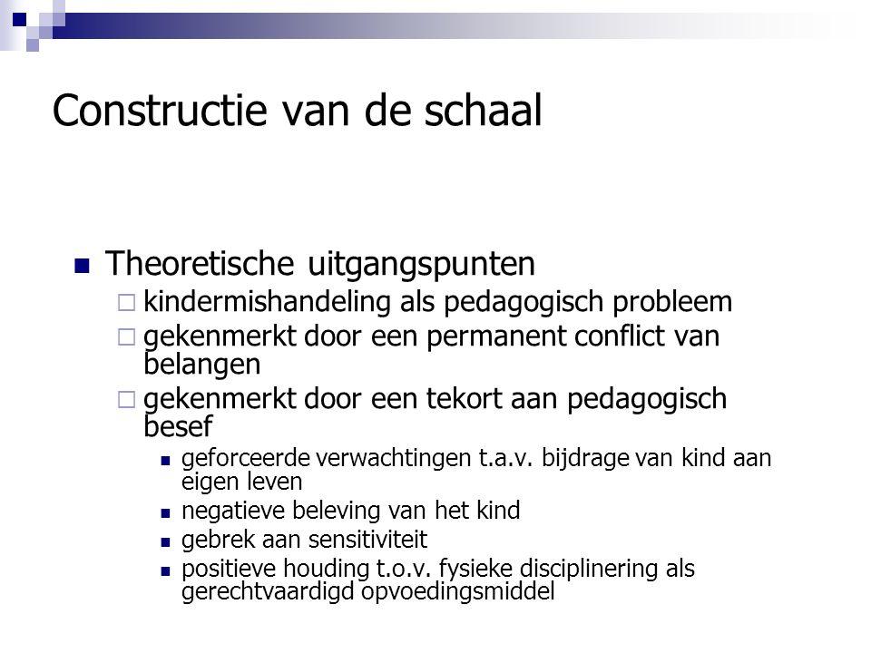 Constructie van de schaal Theoretische uitgangspunten  kindermishandeling als pedagogisch probleem  gekenmerkt door een permanent conflict van belangen  gekenmerkt door een tekort aan pedagogisch besef geforceerde verwachtingen t.a.v.