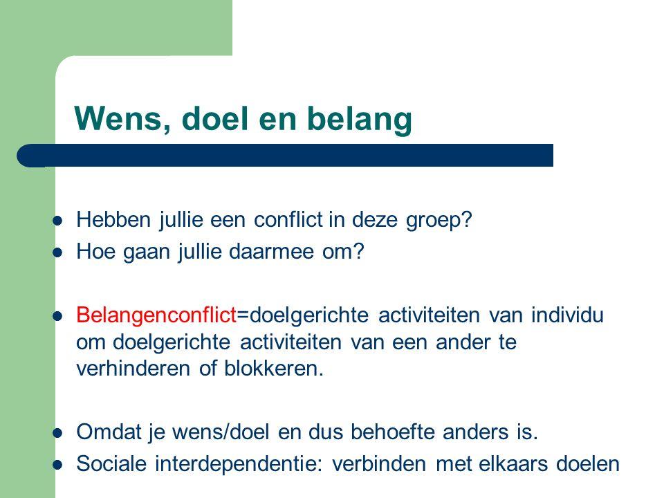 Wens, doel en belang Hebben jullie een conflict in deze groep? Hoe gaan jullie daarmee om? Belangenconflict=doelgerichte activiteiten van individu om