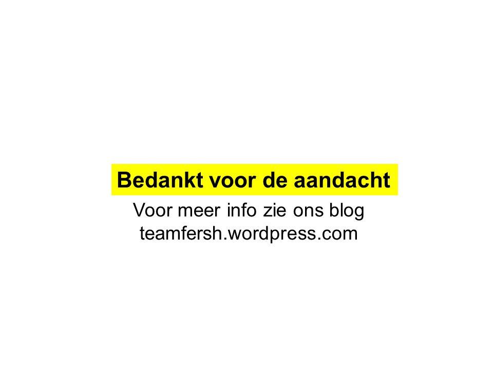 Bedankt voor de aandacht Voor meer info zie ons blog teamfersh.wordpress.com