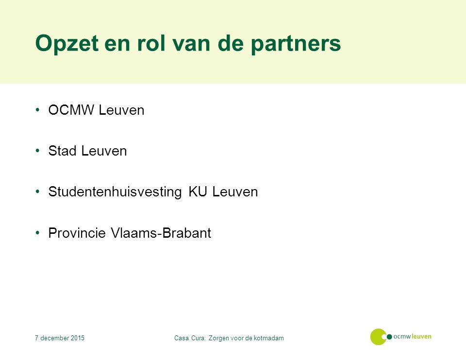 Opzet en rol van de partners OCMW Leuven Stad Leuven Studentenhuisvesting KU Leuven Provincie Vlaams-Brabant 7 december 2015Casa Cura: Zorgen voor de kotmadam