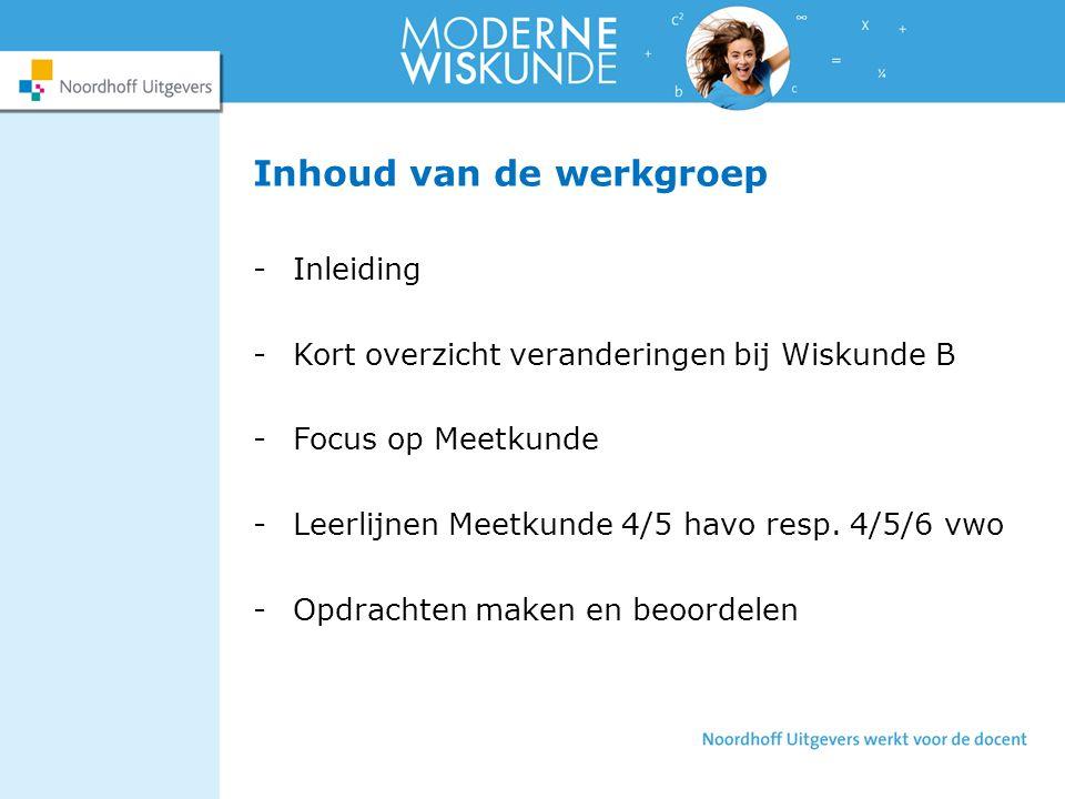 Inhoud van de werkgroep -Inleiding -Kort overzicht veranderingen bij Wiskunde B -Focus op Meetkunde -Leerlijnen Meetkunde 4/5 havo resp.