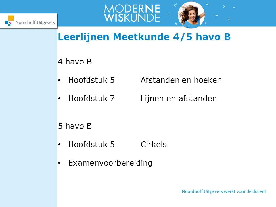Leerlijnen Meetkunde 4/5 havo B 4 havo B Hoofdstuk 5Afstanden en hoeken Hoofdstuk 7Lijnen en afstanden 5 havo B Hoofdstuk 5Cirkels Examenvoorbereiding