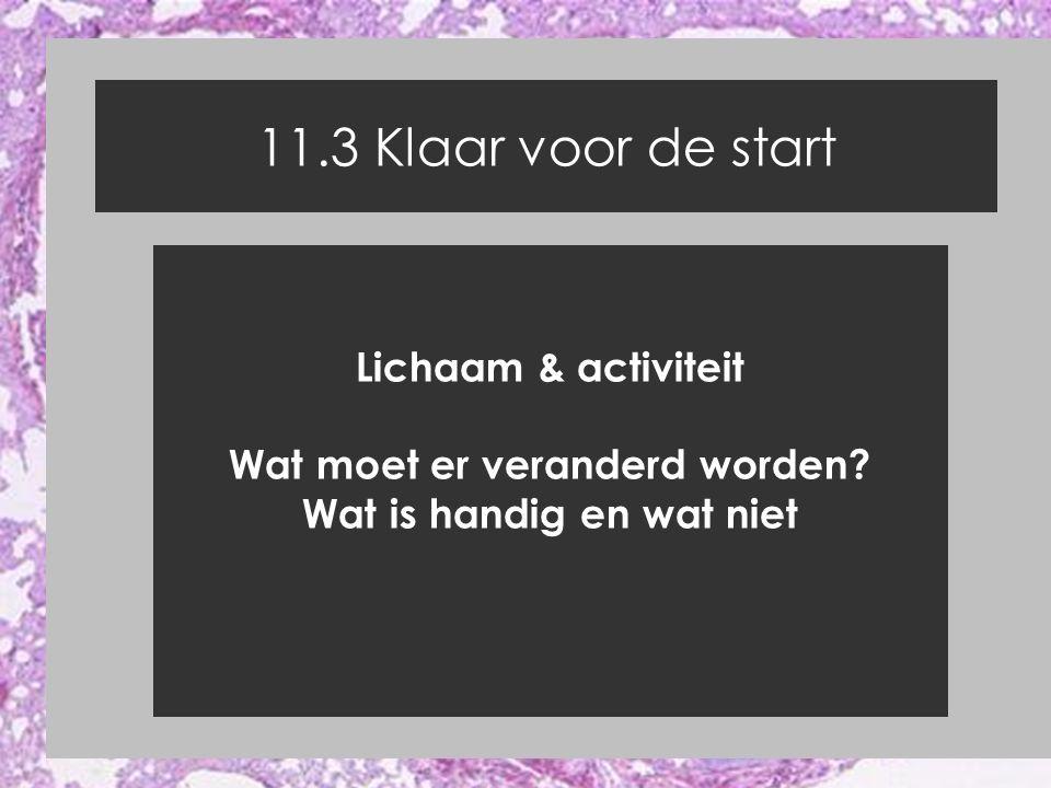 11.3 Klaar voor de start Lichaam & activiteit Wat moet er veranderd worden? Wat is handig en wat niet