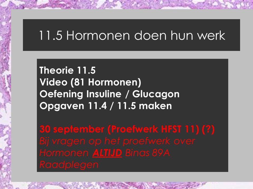 11.5 Hormonen doen hun werk Theorie 11.5 Video (81 Hormonen) Oefening Insuline / Glucagon Opgaven 11.4 / 11.5 maken 30 september (Proefwerk HFST 11) (