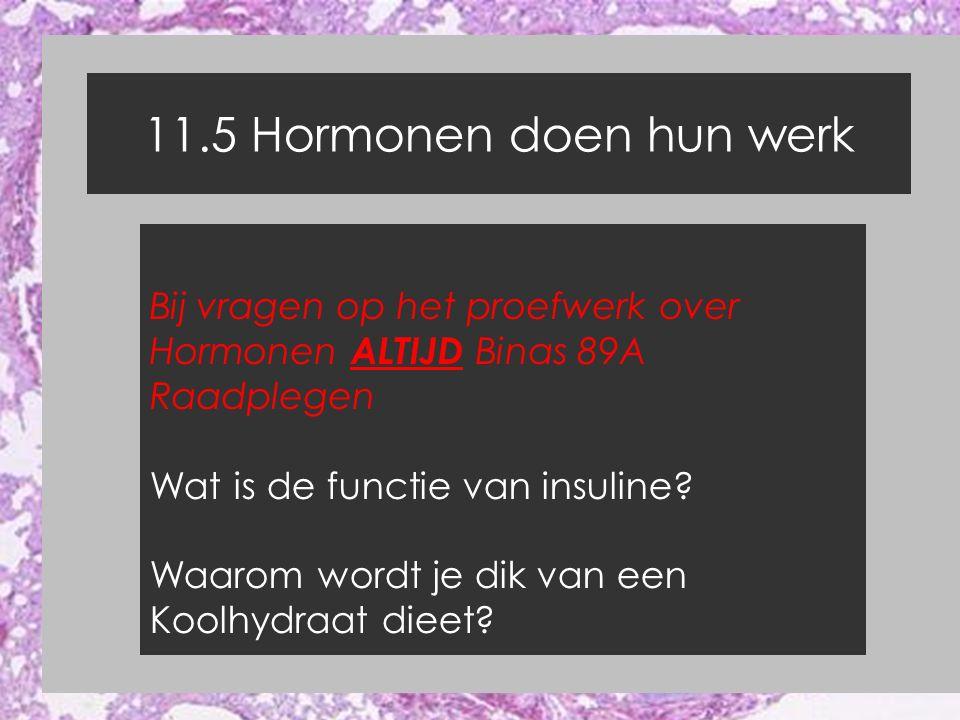11.5 Hormonen doen hun werk Bij vragen op het proefwerk over Hormonen ALTIJD Binas 89A Raadplegen Wat is de functie van insuline? Waarom wordt je dik
