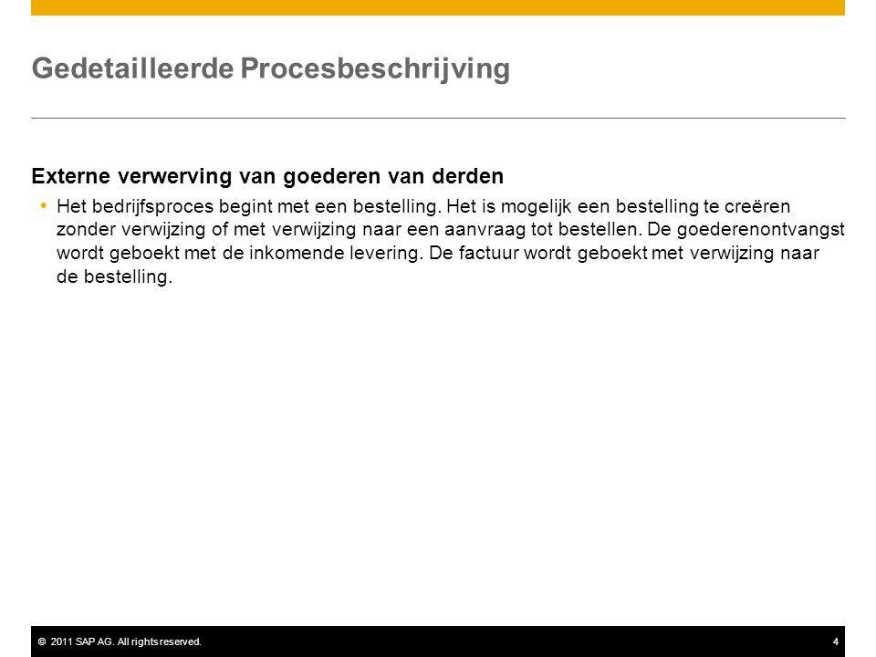 ©2011 SAP AG. All rights reserved.4 Gedetailleerde Procesbeschrijving Externe verwerving van goederen van derden  Het bedrijfsproces begint met een b