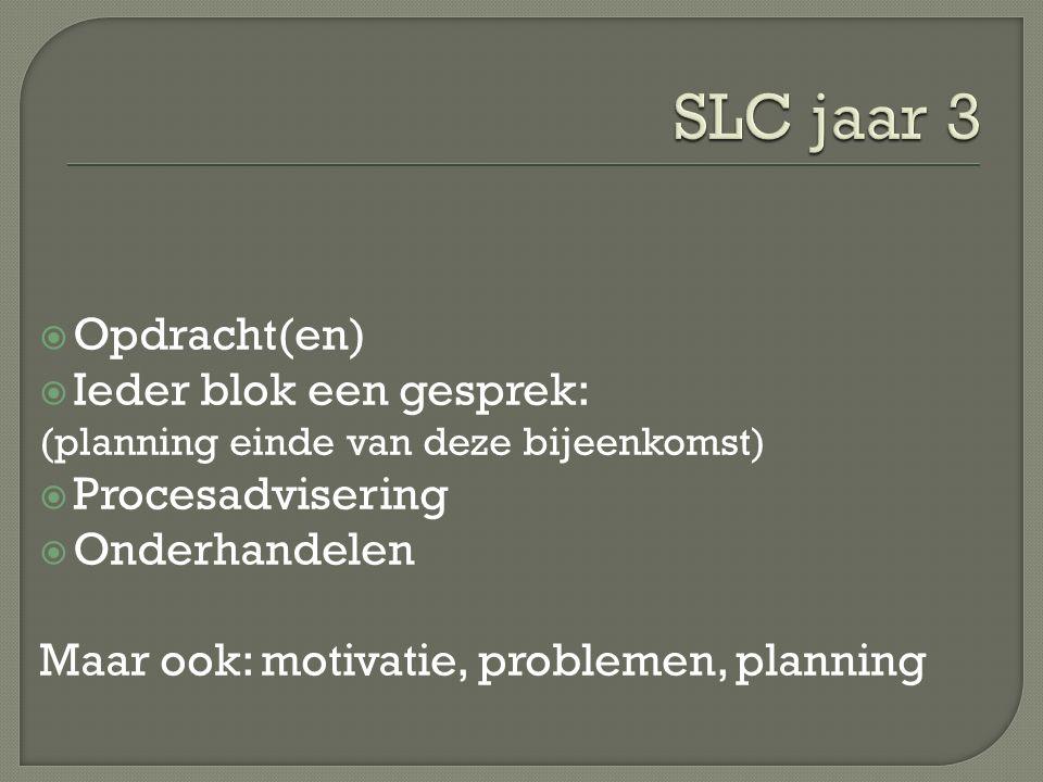  Opdracht(en)  Ieder blok een gesprek: (planning einde van deze bijeenkomst)  Procesadvisering  Onderhandelen Maar ook: motivatie, problemen, planning