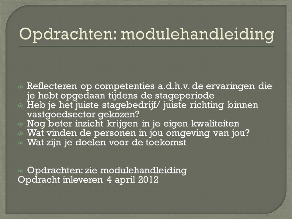 Opdrachten: modulehandleiding  Reflecteren op competenties a.d.h.v.