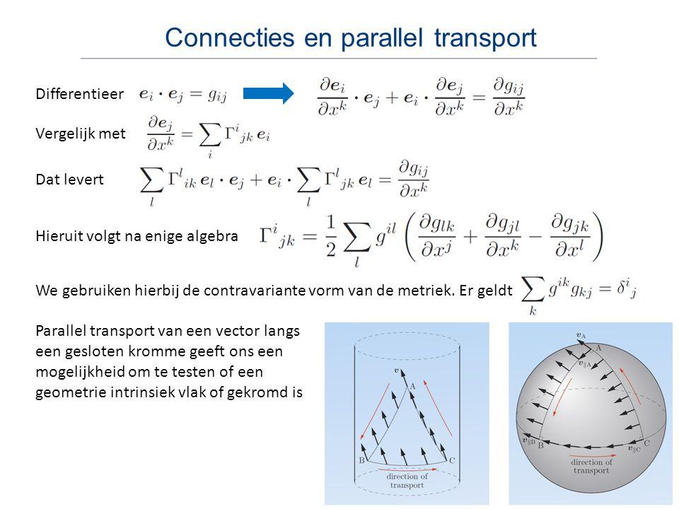 Connecties en parallel transport Differentieer Vergelijk met Dat levert Hieruit volgt na enige algebra We gebruiken hierbij de contravariante vorm van