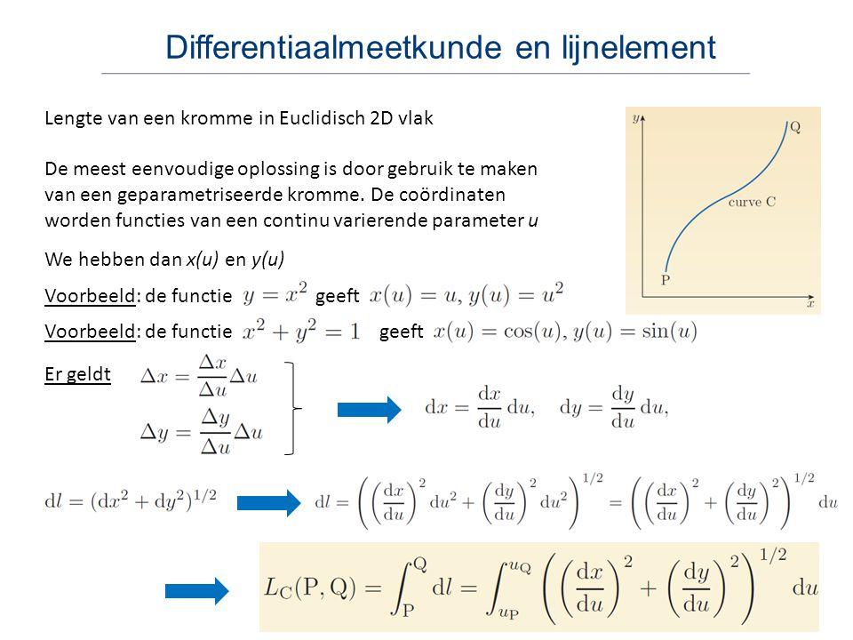 Differentiaalmeetkunde en lijnelement Lengte van een kromme in Euclidisch 2D vlak De meest eenvoudige oplossing is door gebruik te maken van een gepar