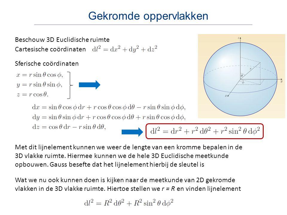 Gekromde oppervlakken Beschouw 3D Euclidische ruimte Sferische coördinaten Cartesische coördinaten Met dit lijnelement kunnen we weer de lengte van ee