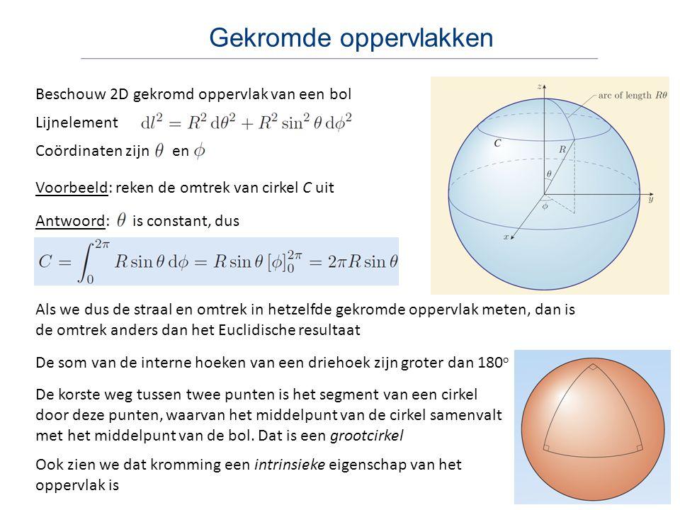 Gekromde oppervlakken Beschouw 2D gekromd oppervlak van een bol Coördinaten zijn en Lijnelement Voorbeeld: reken de omtrek van cirkel C uit Antwoord: