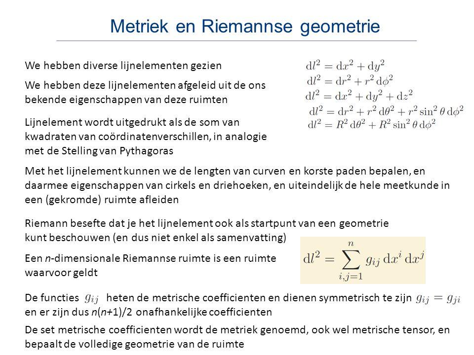 Metriek en Riemannse geometrie We hebben diverse lijnelementen gezien Riemann besefte dat je het lijnelement ook als startpunt van een geometrie kunt