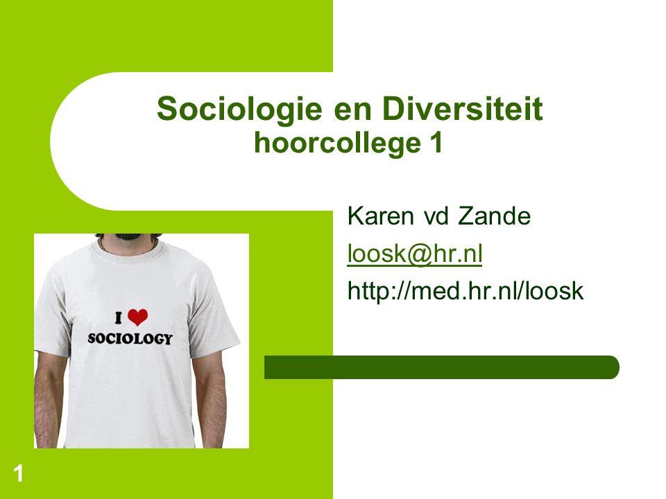 1 Sociologie en Diversiteit hoorcollege 1 Karen vd Zande loosk@hr.nl http://med.hr.nl/loosk