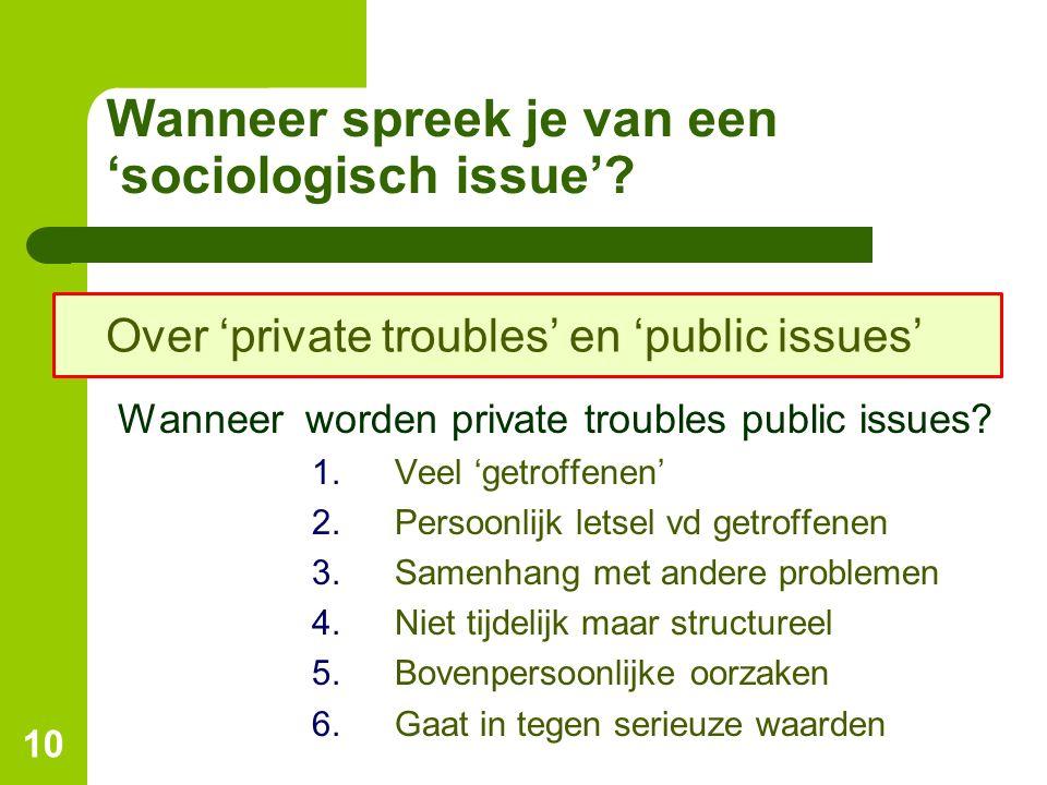 Wanneer spreek je van een 'sociologisch issue'? Wanneer worden private troubles public issues? 1.Veel 'getroffenen' 2.Persoonlijk letsel vd getroffene