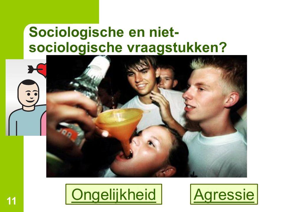 Sociologische en niet- sociologische vraagstukken? 11 AgressieOngelijkheid