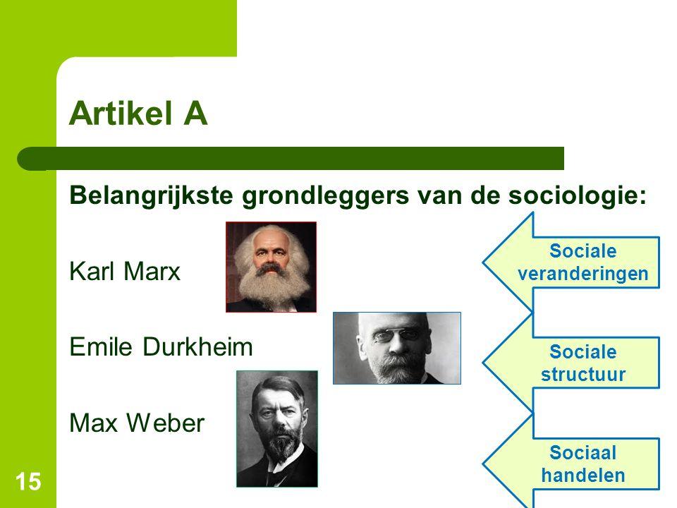 Artikel A 15 Belangrijkste grondleggers van de sociologie: Karl Marx Emile Durkheim Max Weber Sociale veranderingen Sociale structuur Sociaal handelen