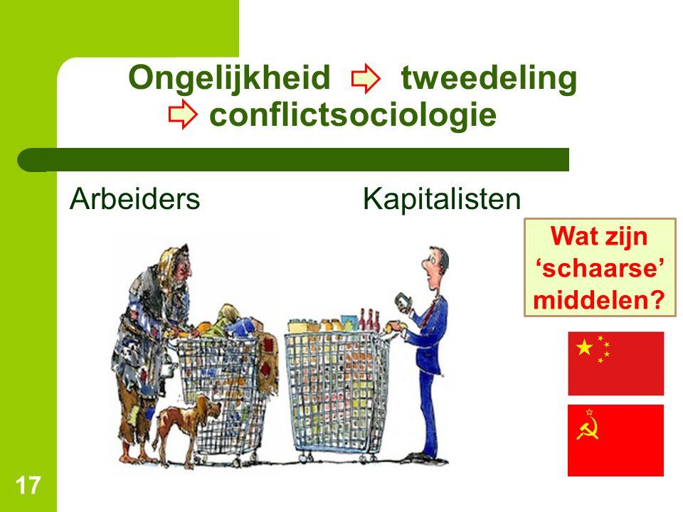 Ongelijkheid tweedeling conflictsociologie ArbeidersKapitalisten 17 Wat zijn 'schaarse' middelen?