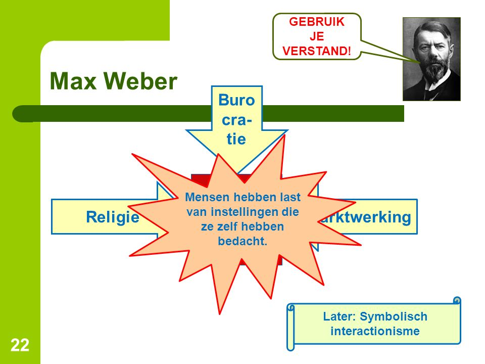 Max Weber 22 Later: Symbolisch interactionisme Religie Buro cra- tie Marktwerking Mensen hebben last van instellingen die ze zelf hebben bedacht. GEBR