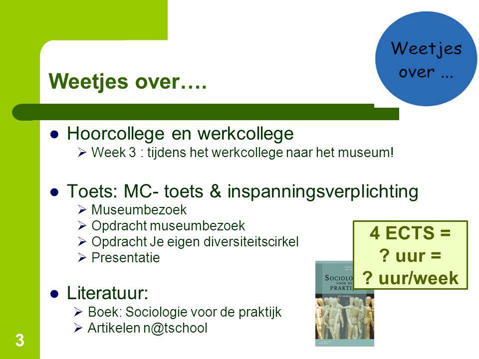 3 Weetjes over…. ●Hoorcollege en werkcollege  Week 3 : tijdens het werkcollege naar het museum! ●Toets: MC- toets & inspanningsverplichting  Museumb