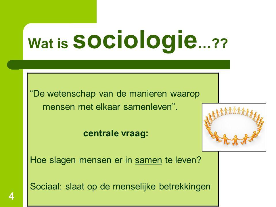 """4 """"De wetenschap van de manieren waarop mensen met elkaar samenleven"""". centrale vraag: Hoe slagen mensen er in samen te leven? Sociaal: slaat op de me"""