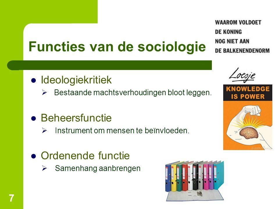 Functies van de sociologie ●Ideologiekritiek  Bestaande machtsverhoudingen bloot leggen. ●Beheersfunctie  Instrument om mensen te beïnvloeden. ●Orde