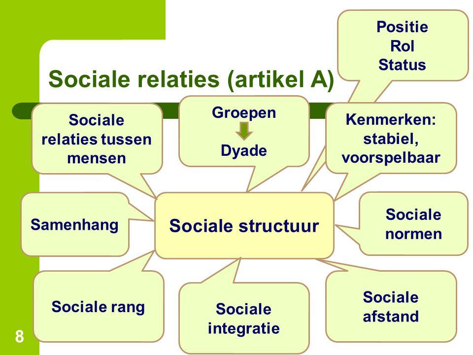 Positie Rol Status Sociale relaties (artikel A) 8 Sociale structuur Sociale relaties tussen mensen Groepen Dyade Kenmerken: stabiel, voorspelbaar Soci