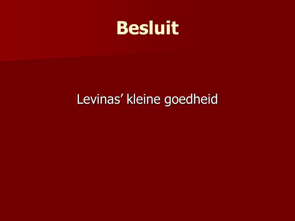 Besluit Levinas' kleine goedheid
