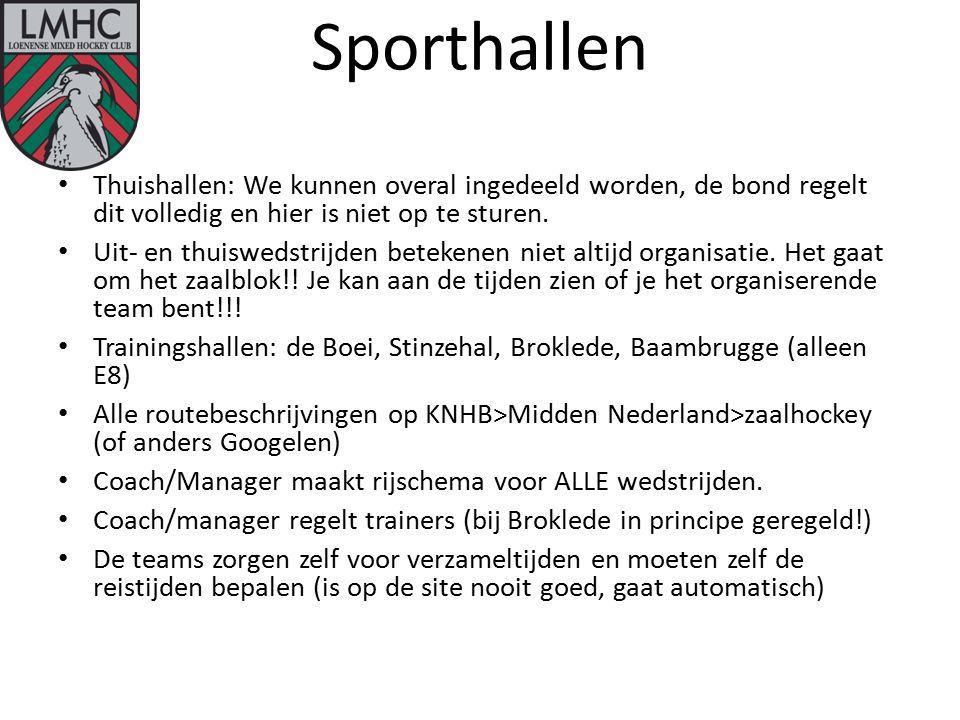 Sporthallen Thuishallen: We kunnen overal ingedeeld worden, de bond regelt dit volledig en hier is niet op te sturen.