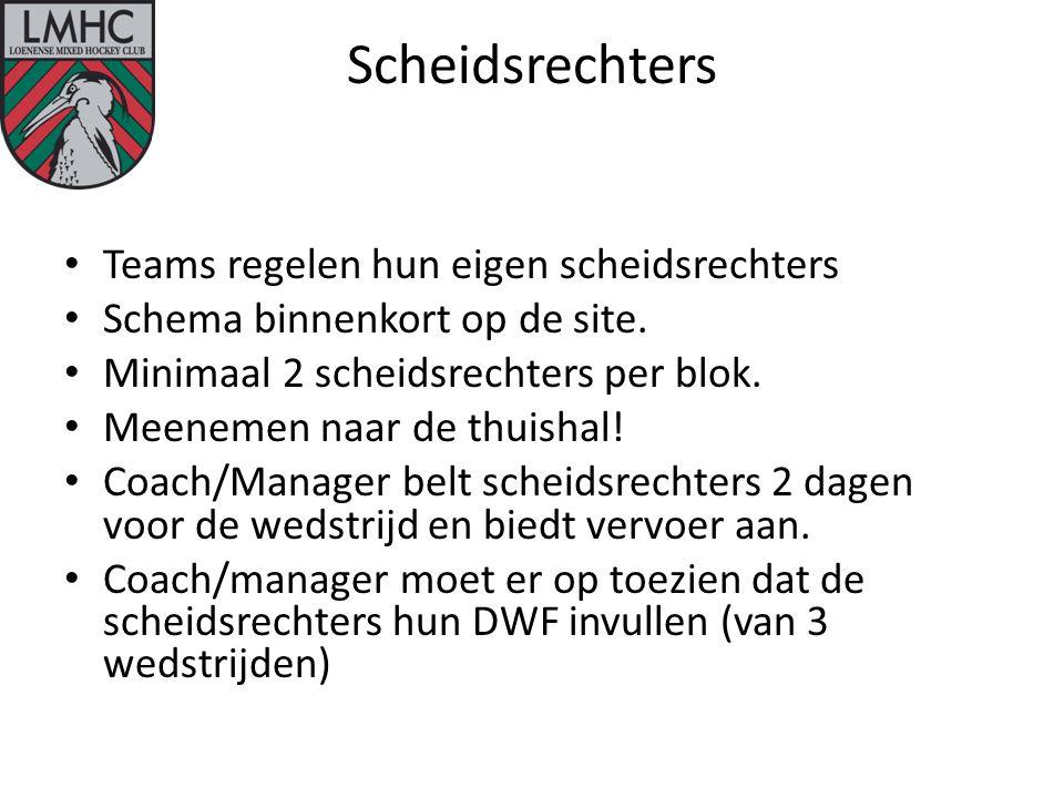 Scheidsrechters Teams regelen hun eigen scheidsrechters Schema binnenkort op de site.
