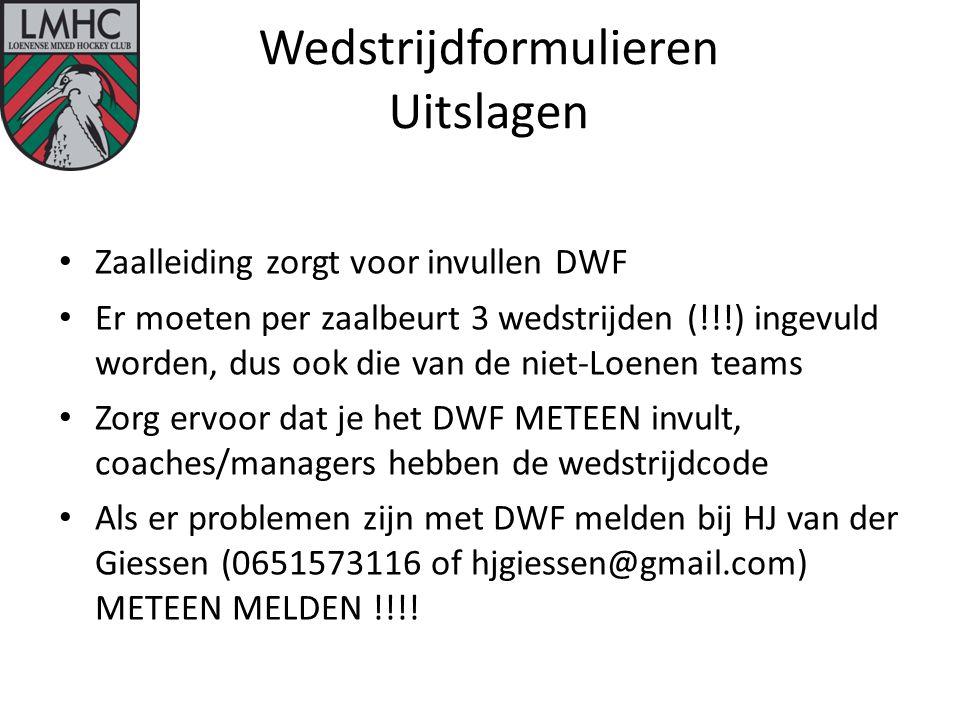 Wedstrijdformulieren Uitslagen Zaalleiding zorgt voor invullen DWF Er moeten per zaalbeurt 3 wedstrijden (!!!) ingevuld worden, dus ook die van de niet-Loenen teams Zorg ervoor dat je het DWF METEEN invult, coaches/managers hebben de wedstrijdcode Als er problemen zijn met DWF melden bij HJ van der Giessen (0651573116 of hjgiessen@gmail.com) METEEN MELDEN !!!!