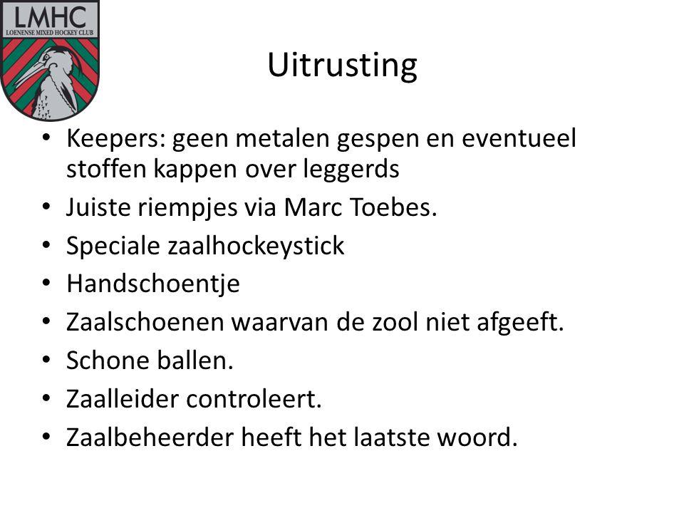 Uitrusting Keepers: geen metalen gespen en eventueel stoffen kappen over leggerds Juiste riempjes via Marc Toebes.