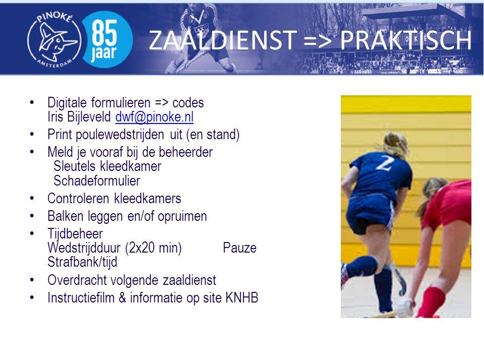 ZAALDIENST => PRAKTISCH Digitale formulieren => codes Iris Bijleveld dwf@pinoke.nldwf@pinoke.nl Print poulewedstrijden uit (en stand) Meld je vooraf b