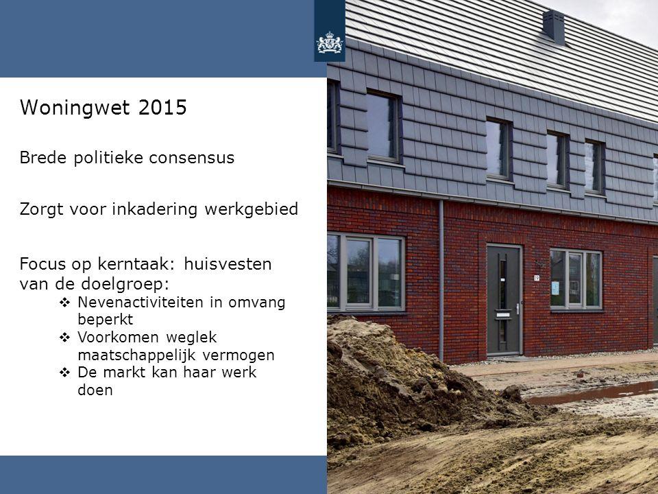 Woningwet 2015 Focus op kerntaak: huisvesten van de doelgroep:  Nevenactiviteiten in omvang beperkt  Voorkomen weglek maatschappelijk vermogen  De