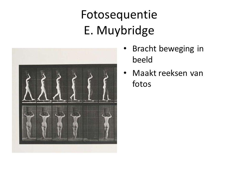 Fotosequentie E. Muybridge Bracht beweging in beeld Maakt reeksen van fotos
