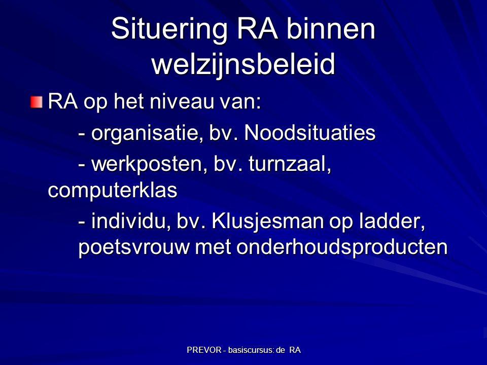 PREVOR - basiscursus: de RA Situering RA binnen welzijnsbeleid RA op het niveau van: - organisatie, bv. Noodsituaties - werkposten, bv. turnzaal, comp
