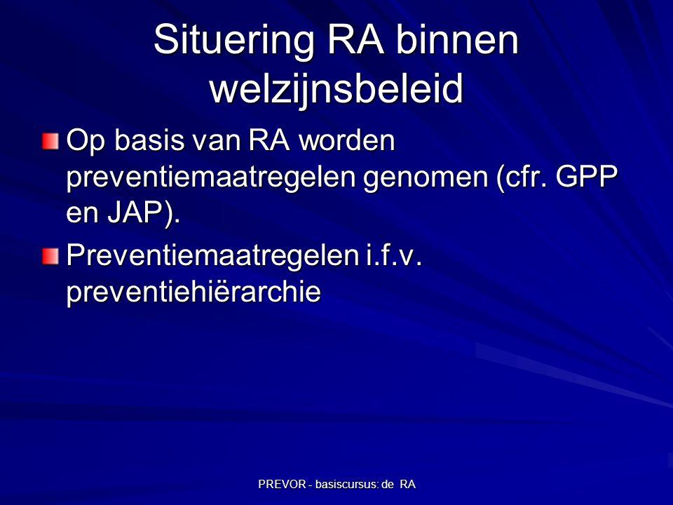 PREVOR - basiscursus: de RA Situering RA binnen welzijnsbeleid Op basis van RA worden preventiemaatregelen genomen (cfr. GPP en JAP). Preventiemaatreg
