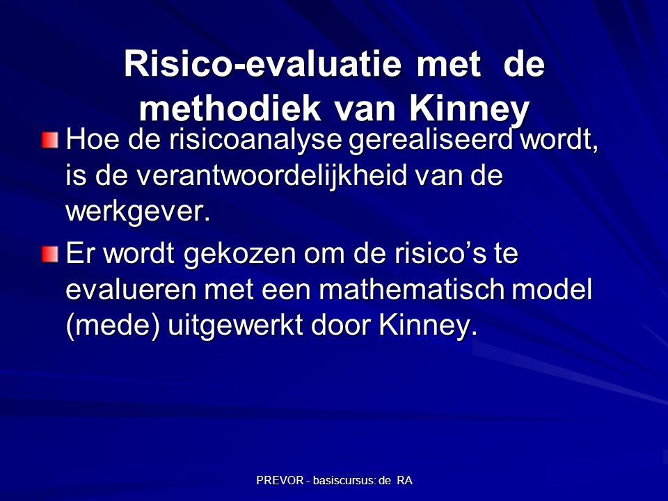 PREVOR - basiscursus: de RA Risico-evaluatie met de methodiek van Kinney Hoe de risicoanalyse gerealiseerd wordt, is de verantwoordelijkheid van de we