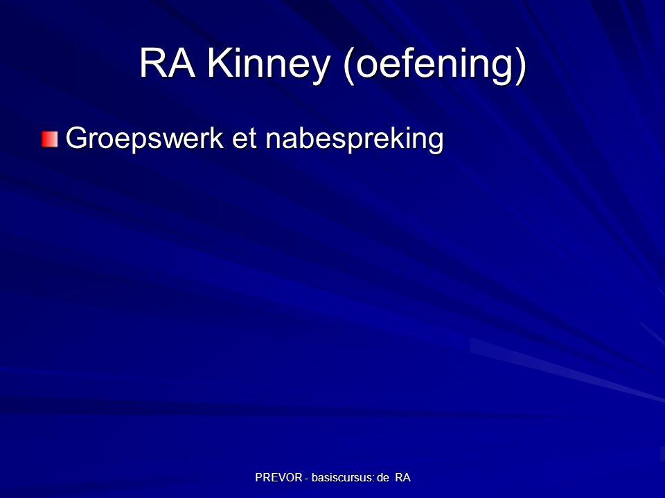 PREVOR - basiscursus: de RA RA Kinney (oefening) Groepswerk et nabespreking