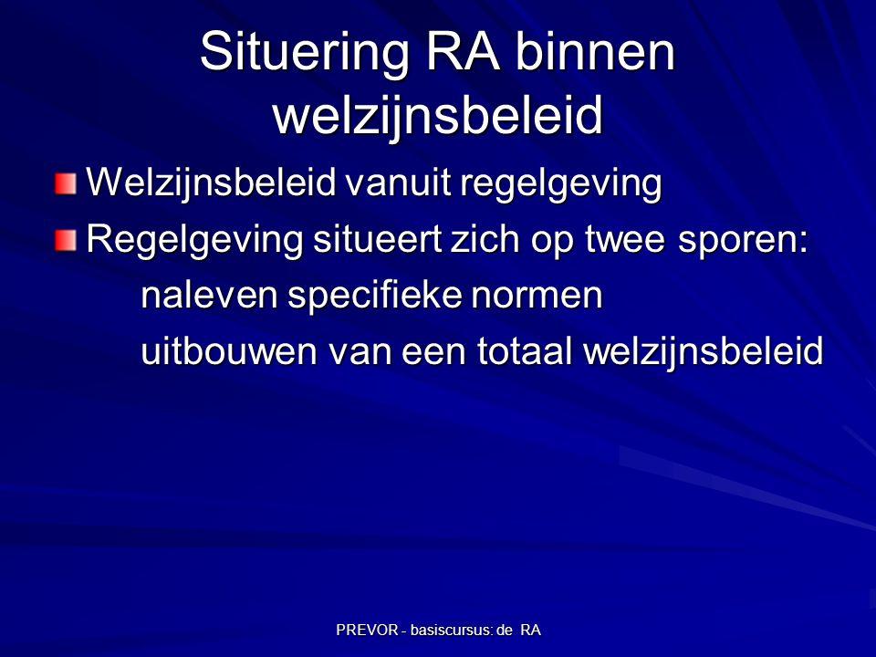 PREVOR - basiscursus: de RA Situering RA binnen welzijnsbeleid Welzijnsbeleid vanuit regelgeving Regelgeving situeert zich op twee sporen: naleven spe