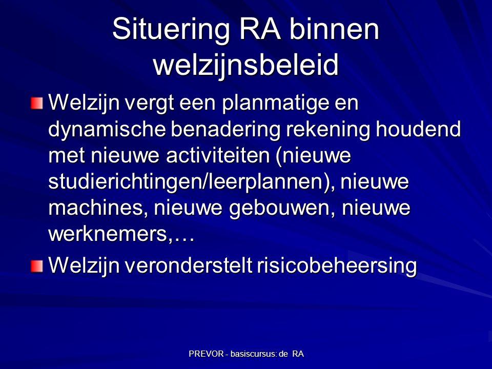 PREVOR - basiscursus: de RA Situering RA binnen welzijnsbeleid Welzijn vergt een planmatige en dynamische benadering rekening houdend met nieuwe activ