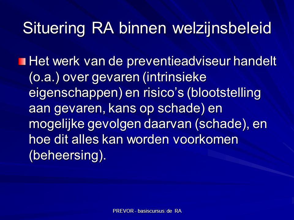 PREVOR - basiscursus: de RA Situering RA binnen welzijnsbeleid Het werk van de preventieadviseur handelt (o.a.) over gevaren (intrinsieke eigenschappe