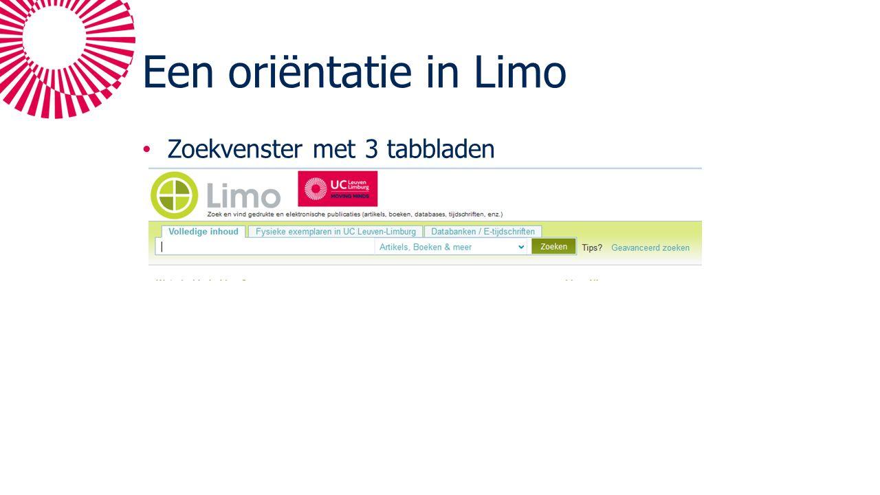 Een oriëntatie in Limo Zoekvenster met 3 tabbladen