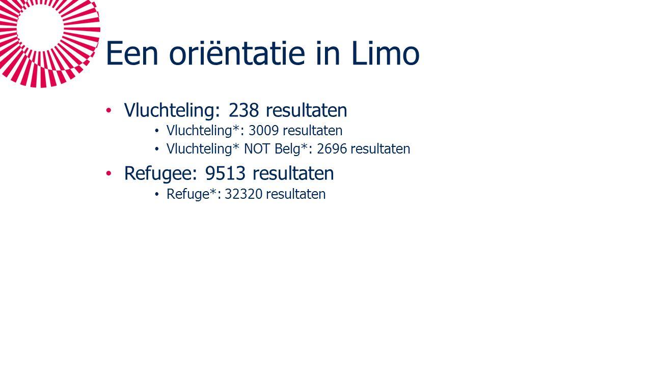 Een oriëntatie in Limo Vluchteling: 238 resultaten Vluchteling*: 3009 resultaten Vluchteling* NOT Belg*: 2696 resultaten Refugee: 9513 resultaten Refuge*: 32320 resultaten