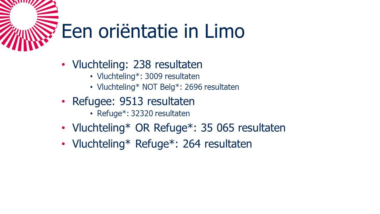 Een oriëntatie in Limo Vluchteling: 238 resultaten Vluchteling*: 3009 resultaten Vluchteling* NOT Belg*: 2696 resultaten Refugee: 9513 resultaten Refuge*: 32320 resultaten Vluchteling* OR Refuge*: 35 065 resultaten Vluchteling* Refuge*: 264 resultaten
