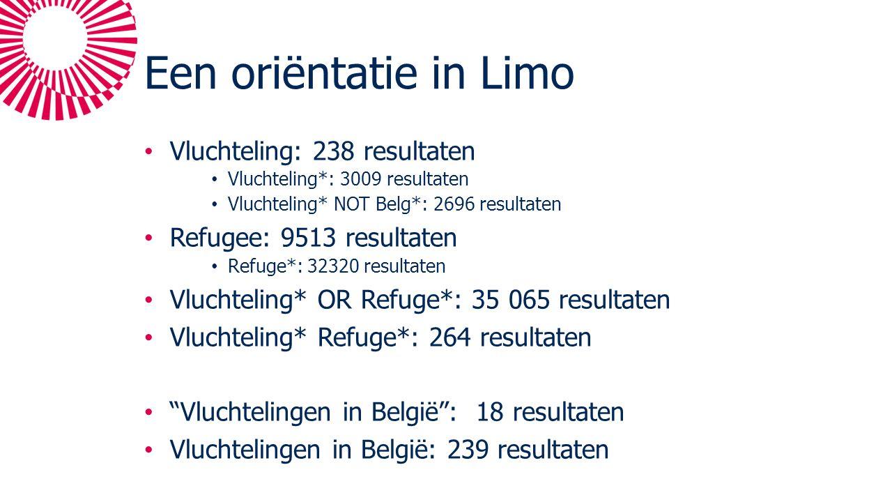 Een oriëntatie in Limo Vluchteling: 238 resultaten Vluchteling*: 3009 resultaten Vluchteling* NOT Belg*: 2696 resultaten Refugee: 9513 resultaten Refuge*: 32320 resultaten Vluchteling* OR Refuge*: 35 065 resultaten Vluchteling* Refuge*: 264 resultaten Vluchtelingen in België : 18 resultaten Vluchtelingen in België: 239 resultaten