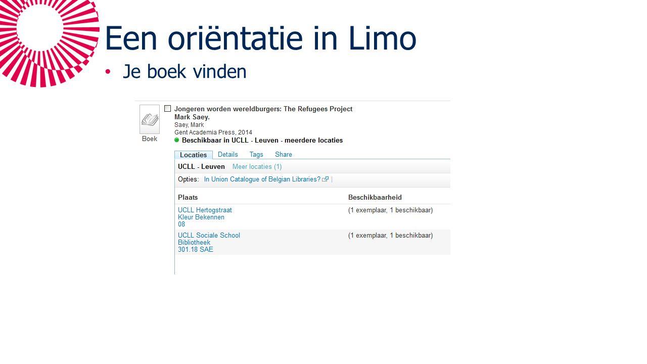 Een oriëntatie in Limo Je boek vinden