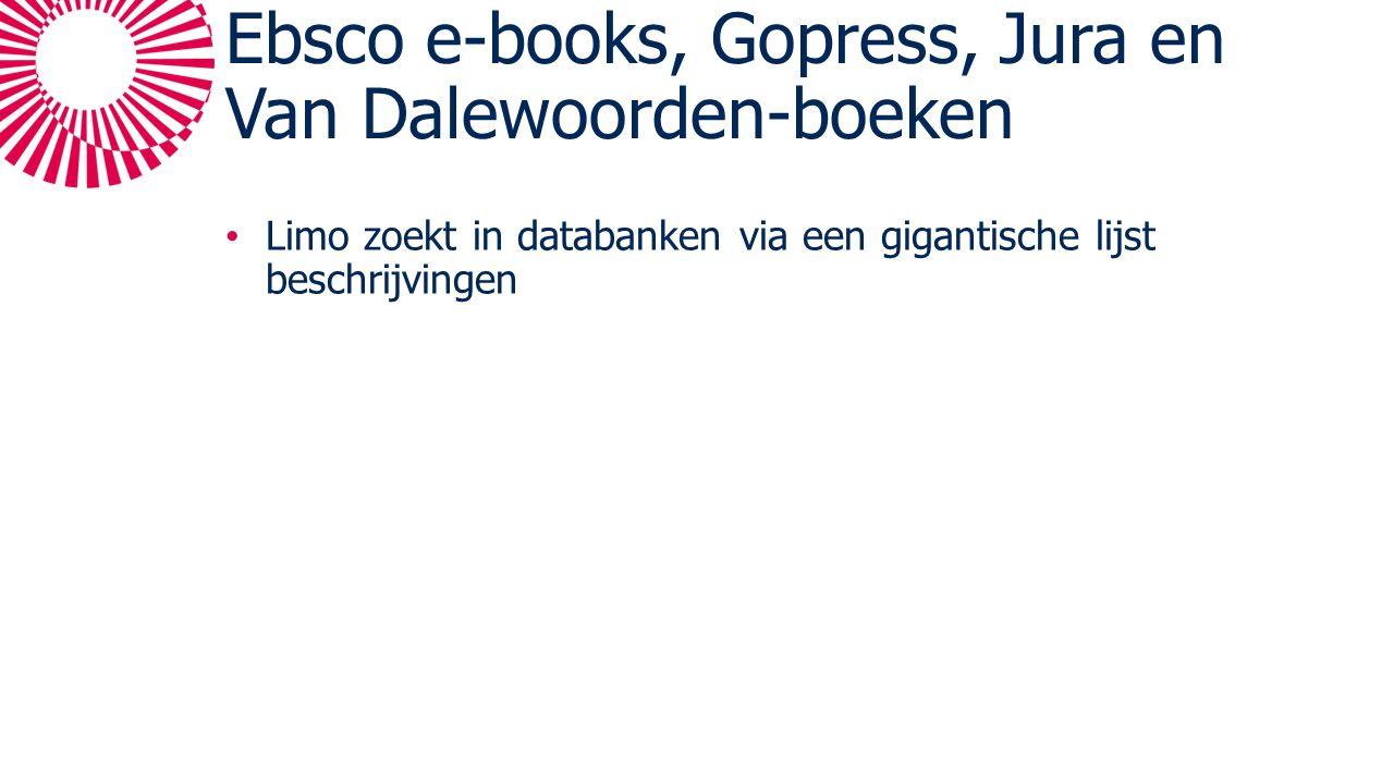 Ebsco e-books, Gopress, Jura en Van Dalewoorden-boeken Limo zoekt in databanken via een gigantische lijst beschrijvingen