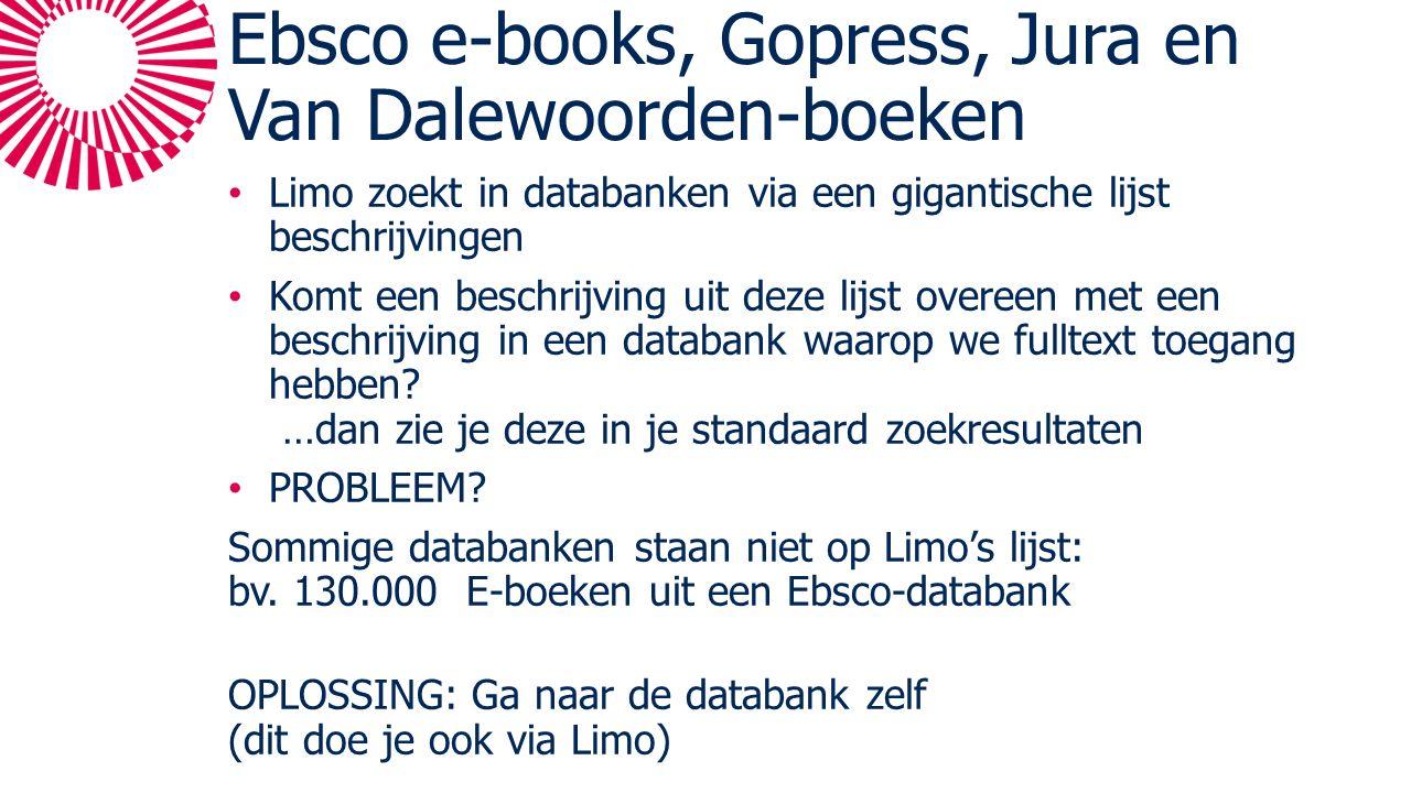 Ebsco e-books, Gopress, Jura en Van Dalewoorden-boeken Limo zoekt in databanken via een gigantische lijst beschrijvingen Komt een beschrijving uit deze lijst overeen met een beschrijving in een databank waarop we fulltext toegang hebben.